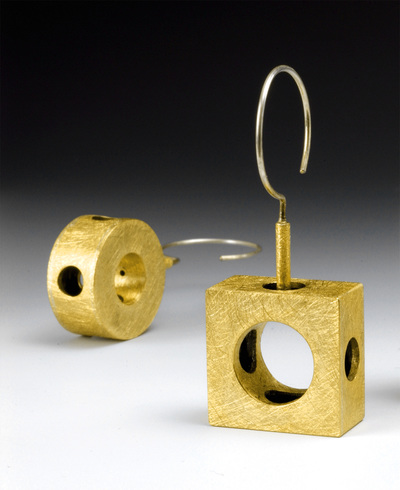 brass square and circle earrings