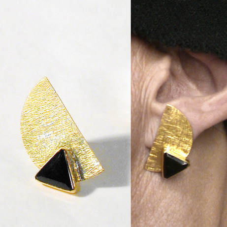 18K gold half moon earrings with fancy black onyx