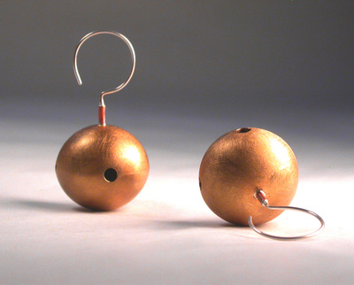 big ball brass earrings