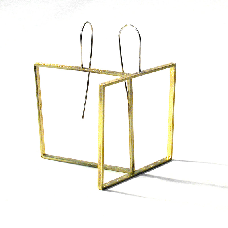 yellow brass big square slice earrings in the