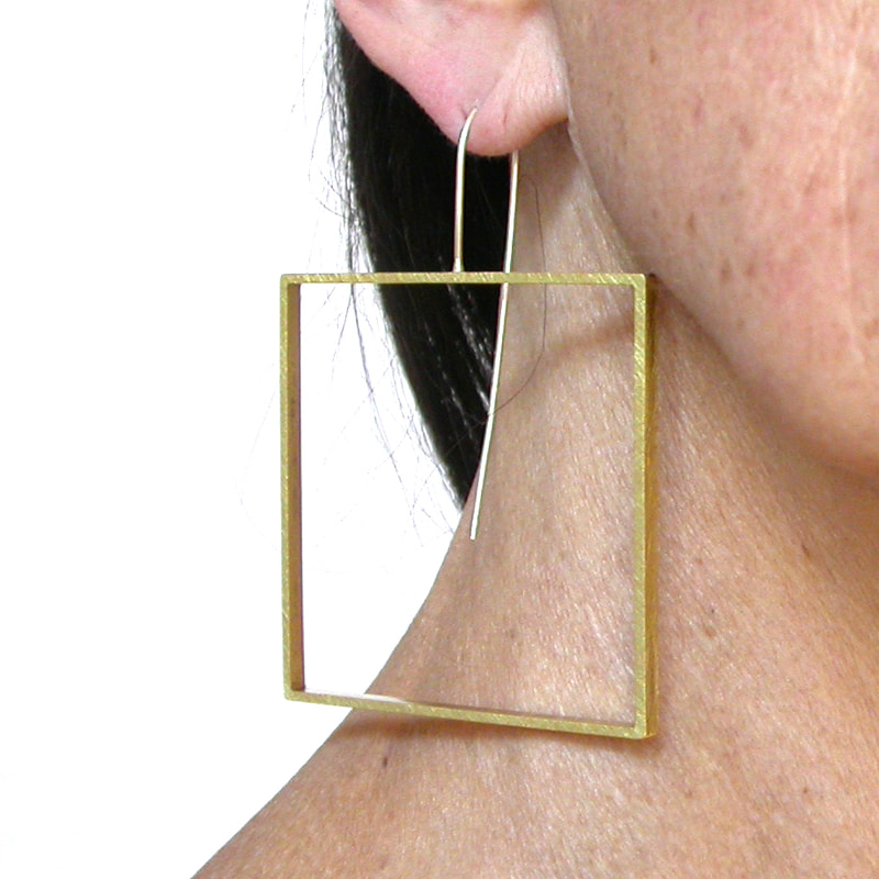 big square slice earrings in yellow  brass