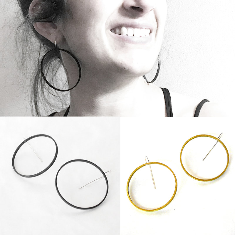 Circle Slice Earrings in black and yellow brass