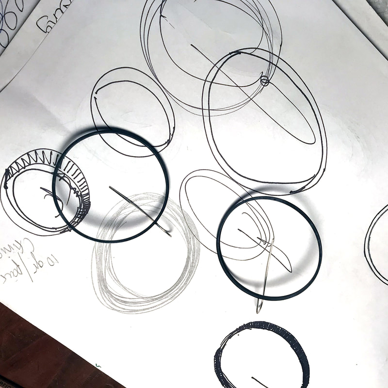 circle earrings drawings